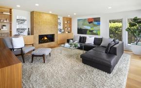 Picture design, sofa, carpet, fireplace, Design, living room, Interior, Living