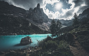 Picture the sun, mountains, nature, lake, rocks