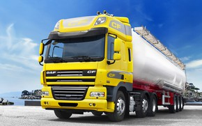 Wallpaper DAF CF85.460, promenade, tractor, 6x2, yellow, the trailer, Euro5, sea, DAF, tank, DAF, Space Cab