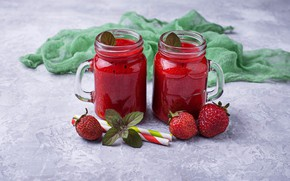 Picture berries, food, strawberry, drink, mugs, smoothies