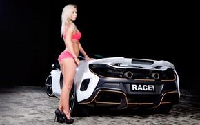 Picture auto, look, McLaren, tattoo, blonde, bracelet, Erotic, beautiful girl