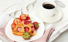 Picture coffee, strawberry, pie