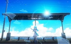 Picture the sky, girl, guitar, speakers, stop, Y_Y