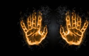 Picture fire, art, palm, imprint, fingers