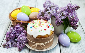 Picture flowers, Easter, cake, flowers, lilac, spring, Easter, eggs, decoration, Happy, the painted eggs