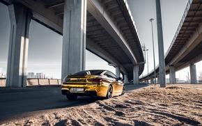 Picture car, machine, auto, bridge, city, fog, race, bmw, BMW, car, sports car, gold, car, need …