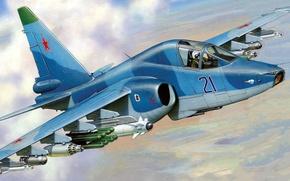 Picture figure, attack, Sukhoi, Zhirnov, The Russian air force, The su-39, Su-25TM