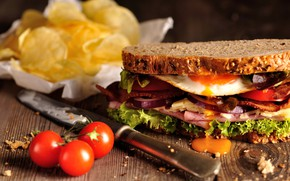 Picture egg, cheese, sandwich, tomato, ham