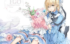 Picture girl, flowers, art, lilies of the valley, the saber, Fate / Grand Order