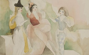 Picture paper, watercolor, pencil, Modern, Marie Laurencin, Two friends with a young adolescent boy on the …