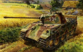 Wallpaper Tank weapon, Ausf.A, Germany, WW2, Painting, Panzerkampfwagen V Panther