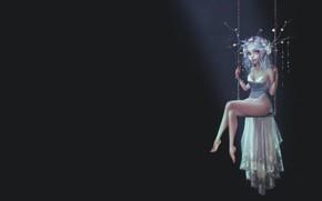 Picture girl, swing, fairy, art, fantasy, Pauline Voss, Moonlight Fairy