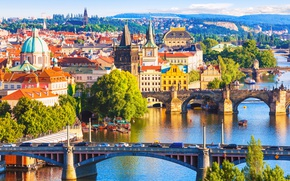Picture the sun, trees, river, home, Prague, Czech Republic, bridges