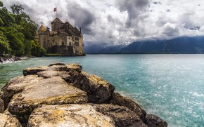 Picture clouds, trees, mountains, clouds, lake, stones, castle, Switzerland, Chillon Castle