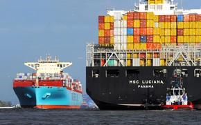 Wallpaper Board, The ship, Line, Cargo, A container ship, Essex, Two, Container, Maersk, MSC, Maersk Line, ...