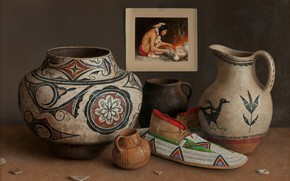 Picture patterns, picture, vase, pitcher, slipper, Indian, Still life, William Acheff, Indian still life, Village Potter