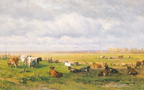 Picture animals, tree, oil, picture, Willem Roelofs, Pasture with Cattle