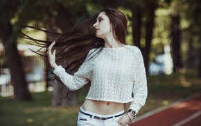 Wallpaper hair, pants, photo, jacket, girl, street, Outdoors