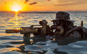 Wallpaper water, dawn, machine, fighter, Bundeswehr, Kommando