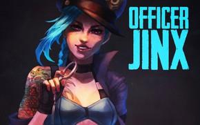 Wallpaper girl, art, lol, league of legends, jinx, Officer, the loose cannon