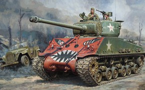 Wallpaper The GAZ-67, art, M4A3E8, Sherman, The Korean war, Medium tank