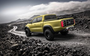 Picture road, the sky, mountains, stones, yellow, Mercedes-Benz, pickup, X-Class Concept