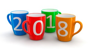 Wallpaper red, figures, colorful, holiday, four, mugs, 2018, green, white background, orange, New year, Christmas, blue
