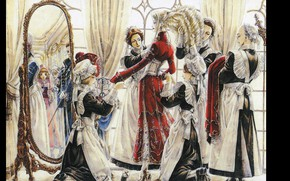 Picture mirror, hairstyle, corset, trinity blood, uniform, servants, dressing, maids, Trinity blood, caterina sforza, kate scot, …