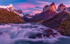 Picture mountains, river, stream, Chile, Magallanes
