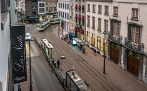 Wallpaper The city, Panorama, Street, Building, Belgium, Street, Belgium, Building, Panorama, Town, Antwerp, Antwerp, Trams