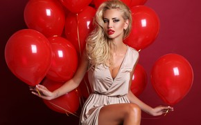 Picture sexy, pose, background, balls, makeup, dress, hairstyle, blonde, red, air, legs, beauty, sitting