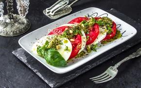 Picture tomato, salad, Basil, Caprese, mozzarella