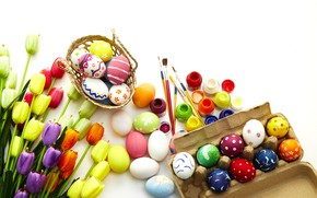 Picture flowers, eggs, spring, colorful, Easter, tulips, flowers, tulips, spring, Easter, eggs, decoration, Happy