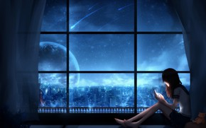Picture girl, night, the city, fiction, planet, by CZY