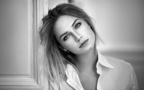 Picture look, girl, portrait, blouse, shirt, black and white photo