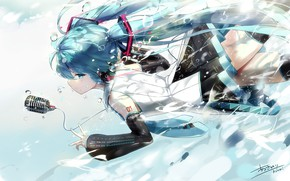 Picture the sky, water, girl, drops, Hatsune Miku, Vocaloid
