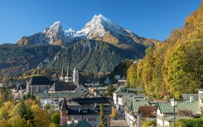 Picture autumn, landscape, mountains, street, home, Germany, Bayern, Church, Berchtesgaden