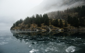 Picture forest, mountains, fog, lake, river, rocks, ice, haze, gray day