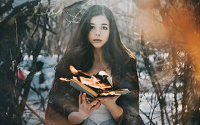 Picture forest, look, girl, mood, fire, the situation, book, Anton Kharisov, Katya Pronin