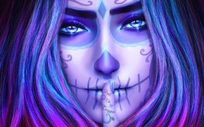 Picture look, girl, face, skull, beauty, finger, art, day of the dead, day of the dead, …