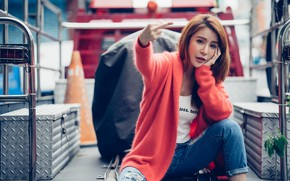 Picture girl, Asian, gesture