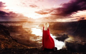 Picture girl, red, panorama, cloak
