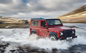 Wallpaper clouds, river, SUV, the sky, hills, stream, forcing, jubilee spezzare, Defender Works V8, 2018, Land ...