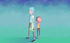 Wallpaper eyes, space, stars, yellow, jeans, hairstyle, space, madness, scientist, Rick, Rick and Morty, Rick, Morty, ...