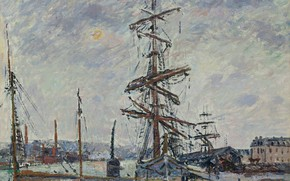 Picture ship, picture, mast, Gustave Loiseau, Gustave Loiseau, Ships in Port