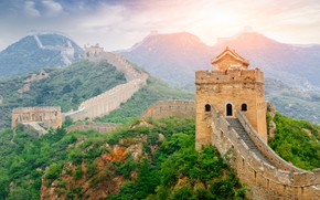 Picture forest, the sky, the sun, trees, mountains, dawn, wall, China, tower, The great wall of …