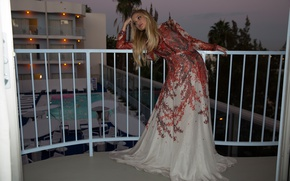 Picture lights, pose, the evening, makeup, dress, hairstyle, blonde, railings, balcony, the hotel, beauty, photoshoot, Olivia …
