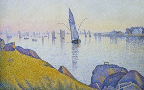 Picture landscape, boat, picture, sail, Paul Signac, pointillism, Concarneau. Evening Calm