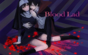Picture girl, anime, art, Staz, Bloody guy, Blood Lad