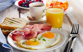 Picture berries, coffee, orange, food, Breakfast, bread, orange juice, bacon and eggs
